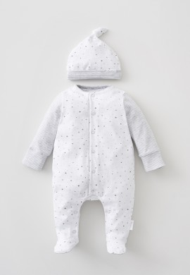 Комплект – трикотажный комбинезон и шапочка для новорожденного SC014